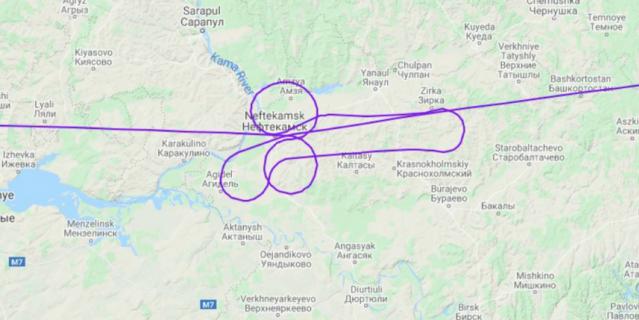 """Рисунок можно было увидеть, если посмотреть схему полёта на сайте """"Флайтрадар""""."""