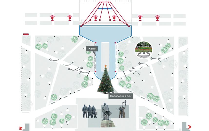 Проект ледовой площадки в Театральном сквере. Фото пресс-центр Мэрии Новосибирска