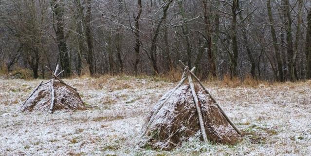 На экологической тропе на территории заповедника поставили небольшие стожки из сена.