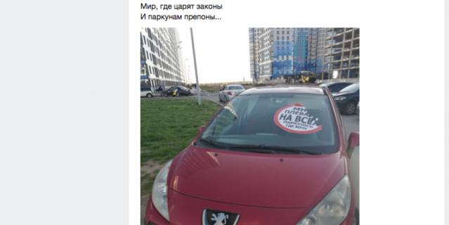 Мужчина охраняет намыв от людей, которые нарушают правила парковки.