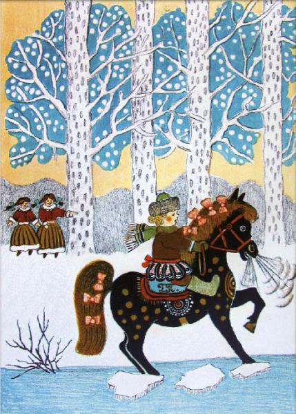 """Иллюстрации к календарю: январь – """"Ваня на коне"""" (1965 г.). Фото предоставлено Марией Захаренко"""