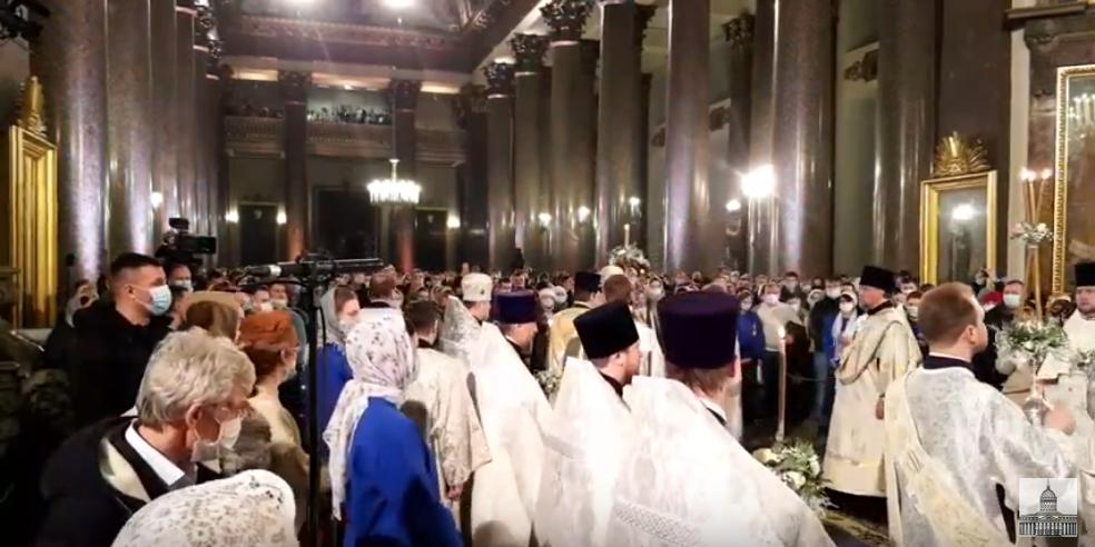 Ночное богослужение в Рождество в Казанском соборе. Фото скриншот, Скриншот Youtube