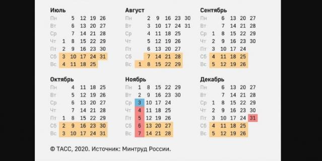 Календарь выходных дней 2021 года.