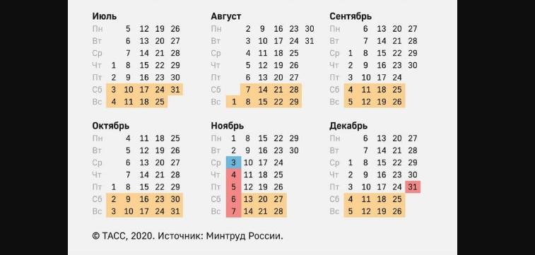 Календарь выходных дней 2021 года. Фото Минтруд