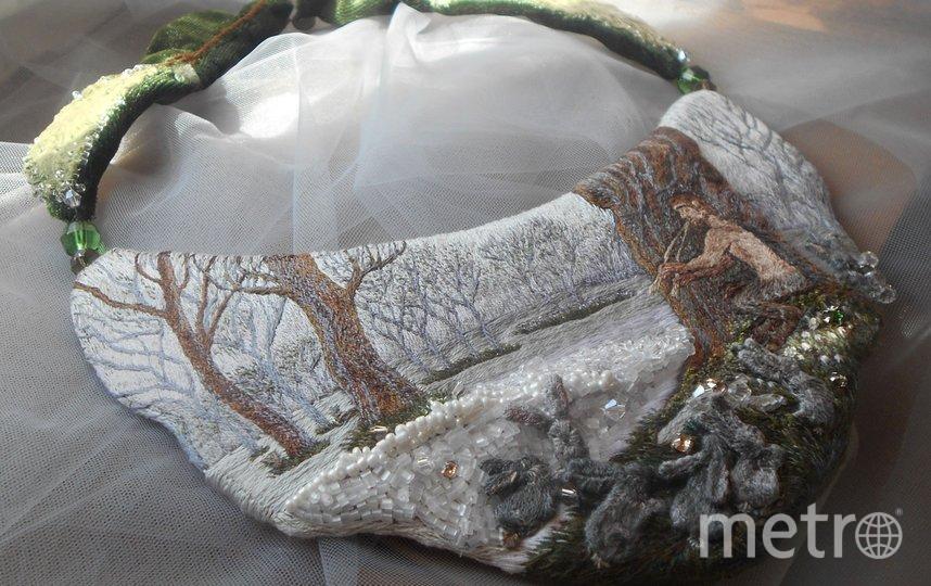 Вышитое колье, Фавн в весеннем лесу. Фото instagram.com@etna_greensleeves