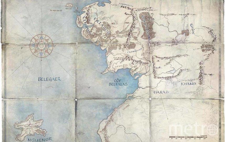 Карта Средиземья, представленная вместе с синопсисом сериала. Фото kinopoisk.ru