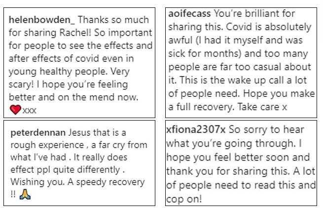 Комментарии под постом Рейчел. Фото https://www.instagram.com/rachelgunn77/