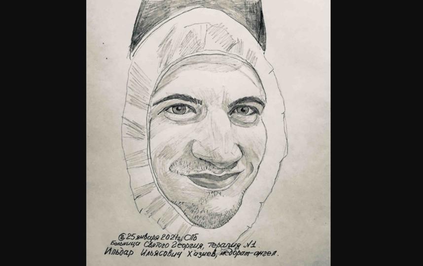 """Портреты сотрудников больницы Св. Георгия художник выкладывает в социальные сети. Фото  фото и рисунки предоставлены Георгием Смирновым, """"Metro"""""""