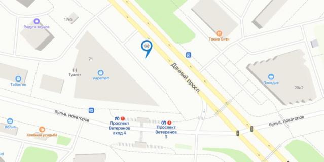 Месторасположение парковки на карте.