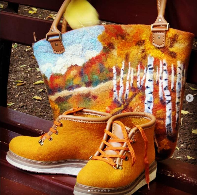 Свалять можно кроссовки, ботфорты и сумки. Фото Instagram.