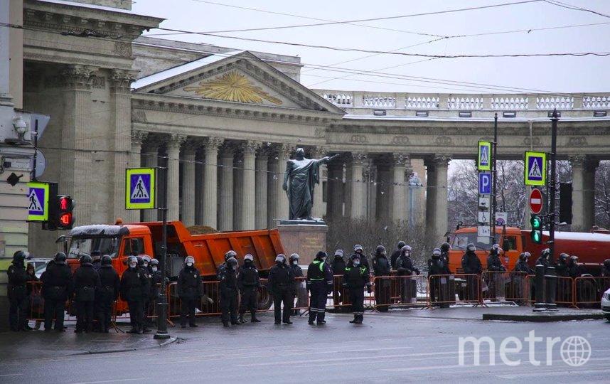 "Центр Петербурга, 31 января 2021 года. Фото https://vk.com/spb_today, ""Metro"""