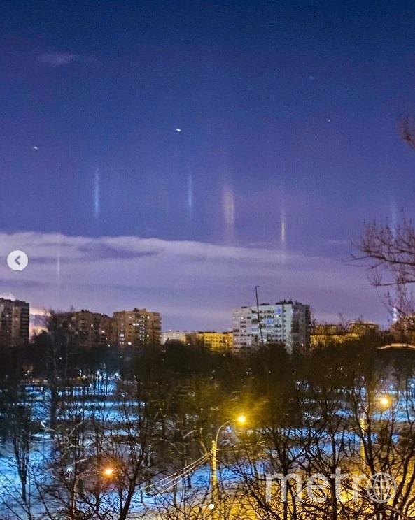 Над Петербургом заметили световые столбы. Фото tatyana.murr.
