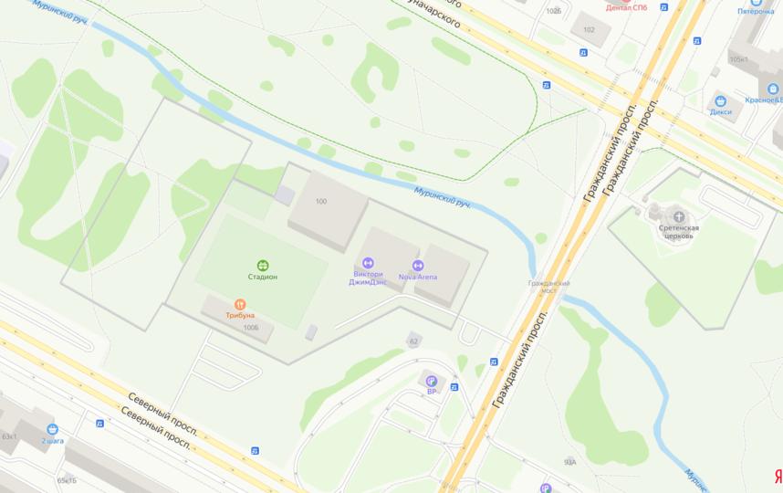 "Участок под застройку (слева от Nova Arena) огорожен забором. Фото Яндекс.Карты, ""Metro"""