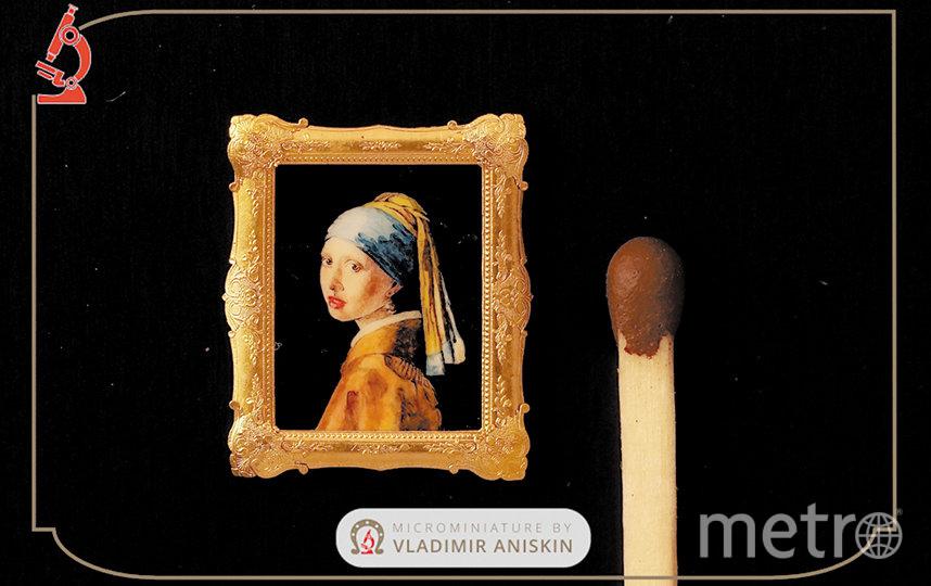 Владимир писал копию картины «Девушка с жемчужной серёжкой» тоненьким волоском. Фото VK.COM/VLADIMIR_ANISKIN
