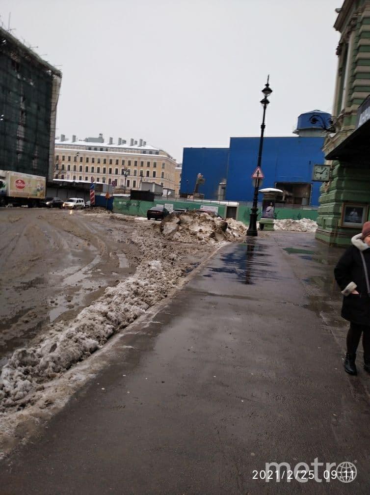 Оттепель привела к тому, что на улицах и дорогах появились глубокие лужи. Фото Тамара Ершакова-Альмари.