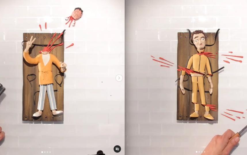 """В мультике кукольному Тарантино отстрелили голову так же, как это сделал Винсент с Марвином в """"Криминальном чтиве"""". Фото Скриншот Instagram: @patagraph"""