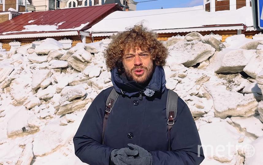 Илья Варламов рассказывает о новостях на фоне новосибирских сугробов. Фото СКРИНШОТ YOUTUBE/VARLAMOV