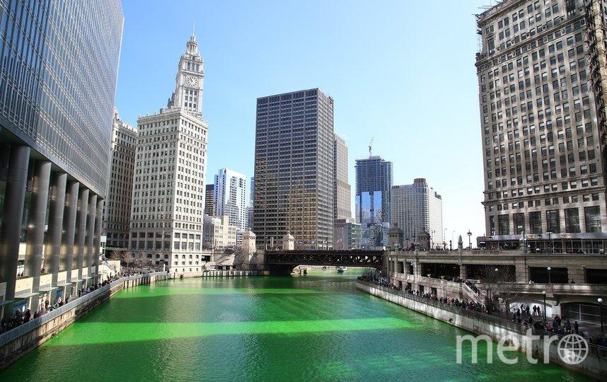 Река в Чикаго традиционно окрашивается в зелёный  цвет. Фото pixabay
