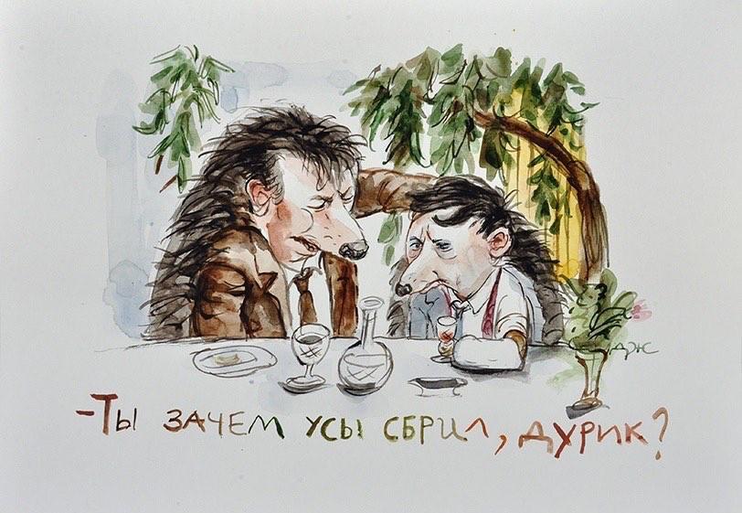 Ёж Горбунков сник от неожиданного вопроса про усы. Фото рисунки Анжелы Джерих