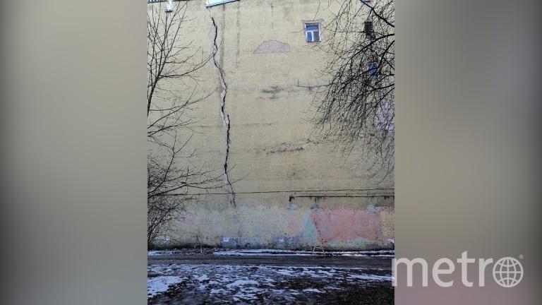 Исторический дом на улице Черняховского рассекла трещина. Фото Центральный район за комфортную среду обитания / «ВКонтакте».