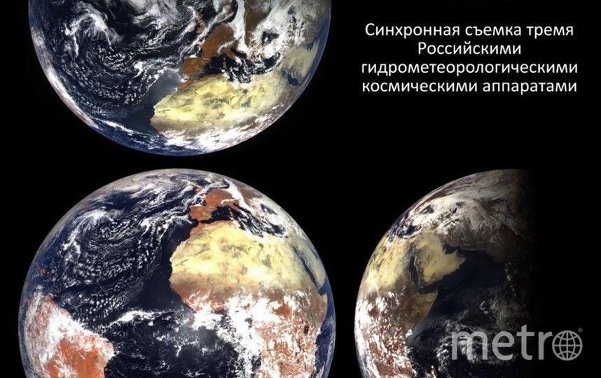 Снимки Роскосмоса, сделанные одновременно с трех ракурсов. Фото twitter.com/Rogozin.