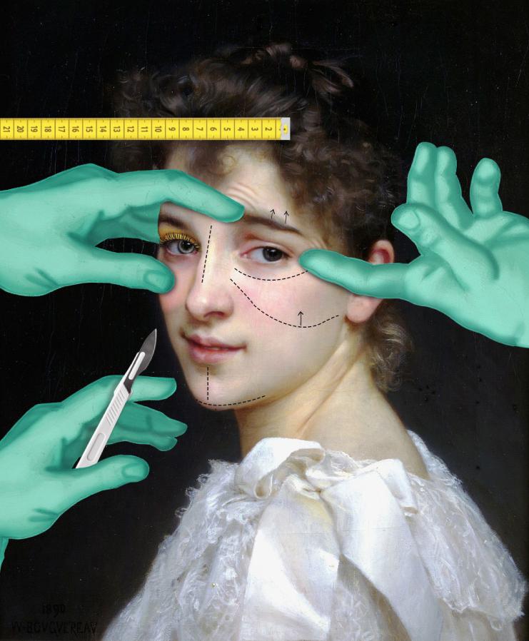 К портрету Вильяма Бугро итальянец добавил руки пластических хирургов. Видимо, так он решил показать, что сегодня любая красавица уверена: совершенству предела нет... Фото CRUDEOIL 2.0