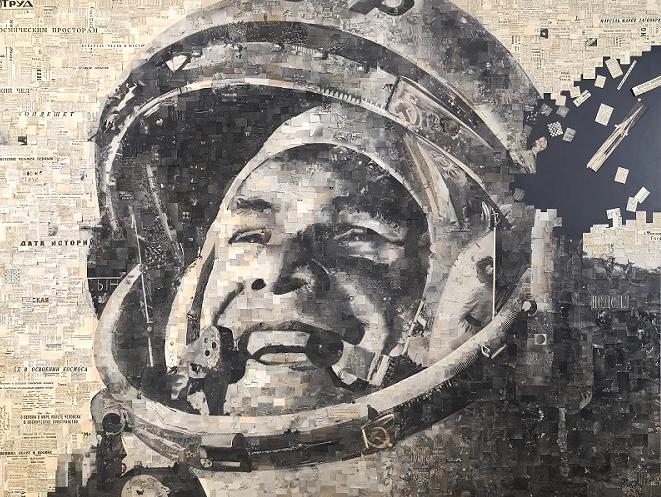 """""""Гагарин"""", Алексей Бегак (коллаж из газет за 13 апреля 1961 года). Фото предоставлено пресс-службой галереи ARTSTORY"""