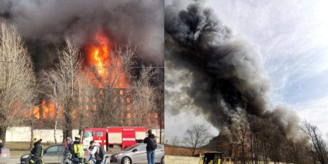 Огонь с здания фабрики перекинулся на соседние дома.