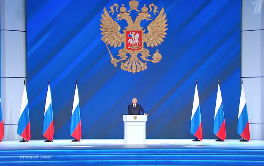 Владимир Путин, 21 апреля 2021 года. Фото Скриншот: https://vk.com/groups?z=video-25380626_456272400