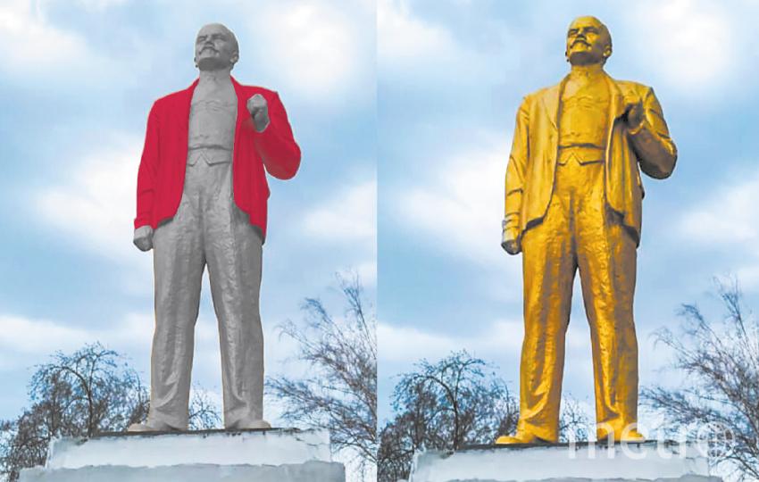 """Ленин с приветом из 90-х (слева) и Ленин наших дней в золотом (справа). Фото """"Metro"""""""