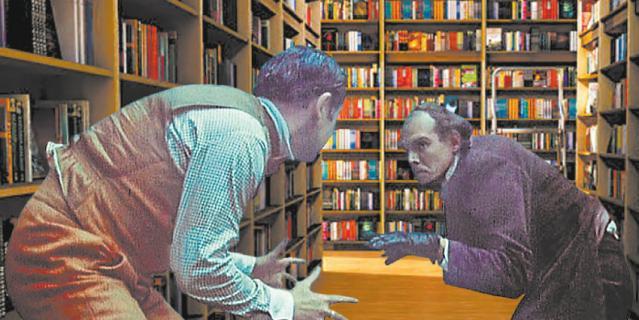 Санкт-Петербург. Мориарти и Холмс не поделили детектив в библиотеке.