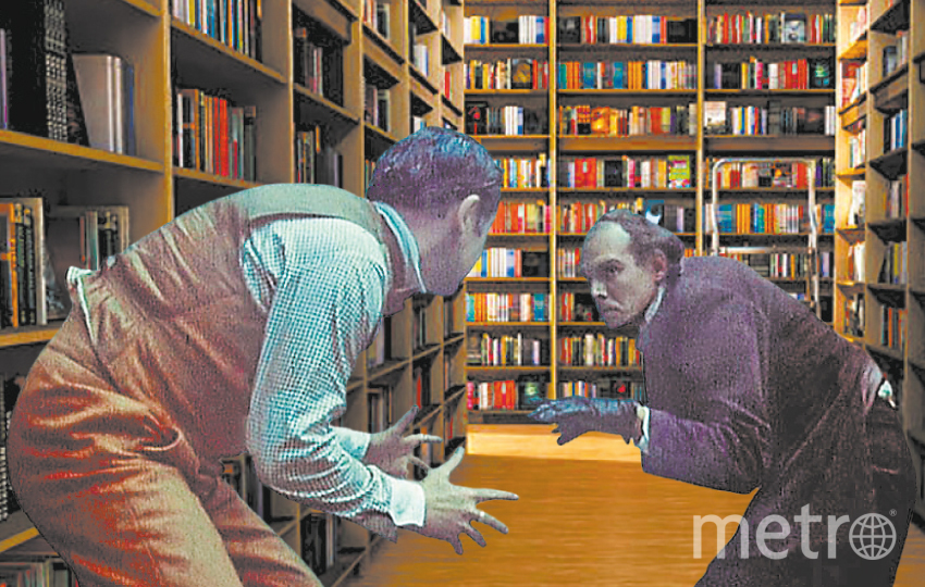 """Санкт-Петербург. Мориарти и Холмс не поделили детектив в библиотеке. Фото """"Metro"""""""