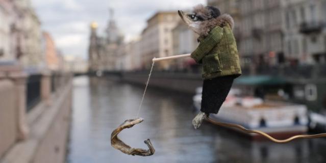 Рыбак в Петербурге.
