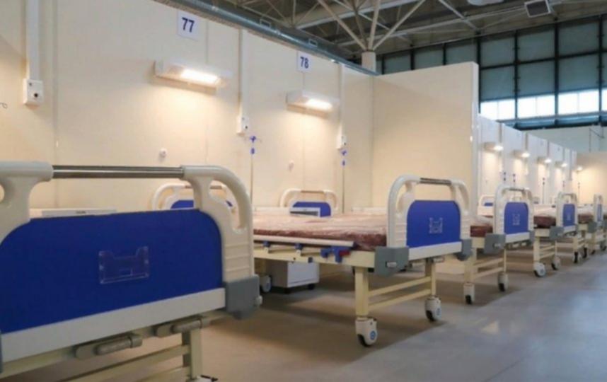 """Временный госпиталь в """"Ленэкспо""""."""