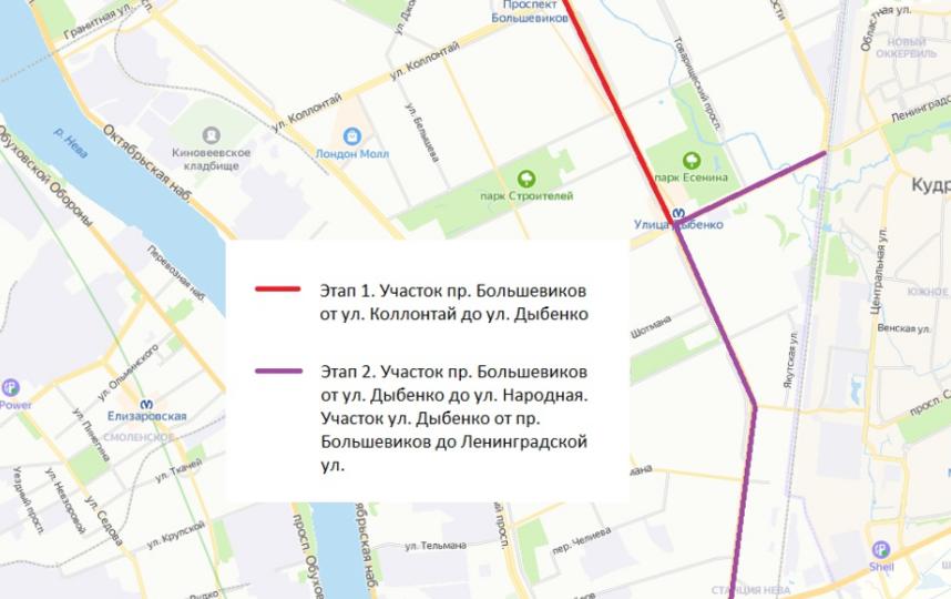 По планам Смольного велодорожка в Невском районе появится в 2021 году. Фото Яндекс.Карты.
