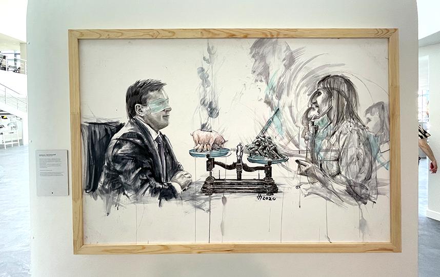 Картина барнаульского художника Николы Питерского на злободневную тему 2020 года – COVID-19. Присмотритесь к деталям, чтобы найти скрытые смыслы. Фото Ольга Пастухова