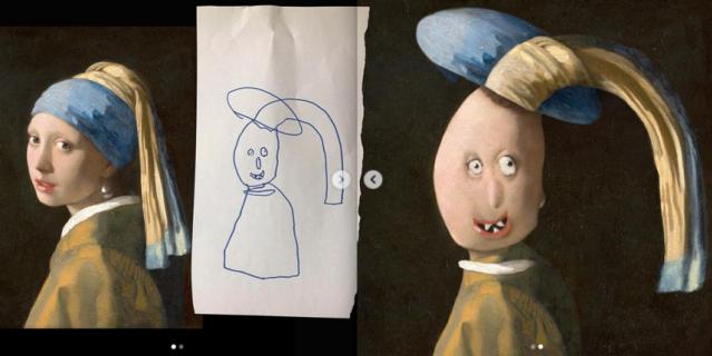 """""""Девушка с жемчужной серёжкой"""" – плод совместной работы Яна Вермеера (XVII век) и 6-летней Алисы Дефне."""