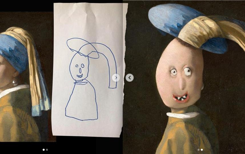 """""""Девушка с жемчужной серёжкой"""" – плод совместной работы Яна Вермеера (XVII век) и 6-летней Алисы Дефне. Фото Instagram: @thingsihavedrawn"""