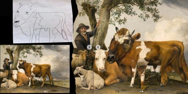 """Картина """"Молодой бык"""" нидерландского художника Паулюса Поттера после того, как её """"доработала"""" 7-летняя Джулия, выглядит вот так (справа)."""