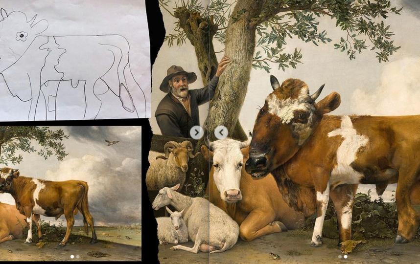 """Картина """"Молодой бык"""" нидерландского художника Паулюса Поттера после того, как её """"доработала"""" 7-летняя Джулия, выглядит вот так (справа). Фото Instagram: @thingsihavedrawn"""