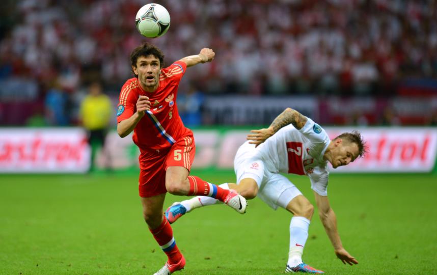 Юрий Жирков (№ 5) – единственный участник матча 2012 года, кто по сей день в сборной. Фото Getty