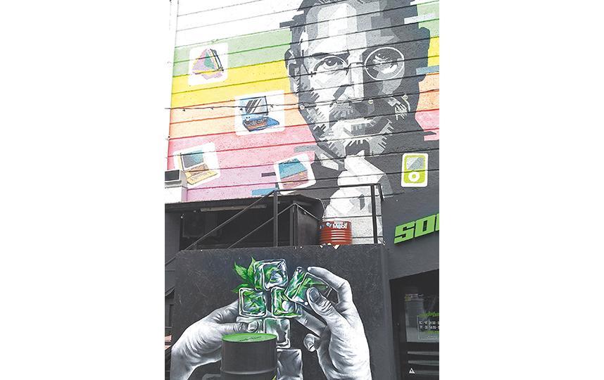 На площади Ленина, в фуд-дворике, есть граффити со Стивом Джобсом. Фото Олеся Дамм