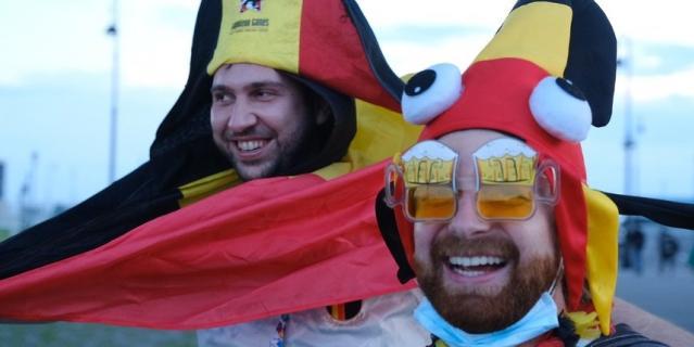Немногочисленые болельщики сборной Бельгии.