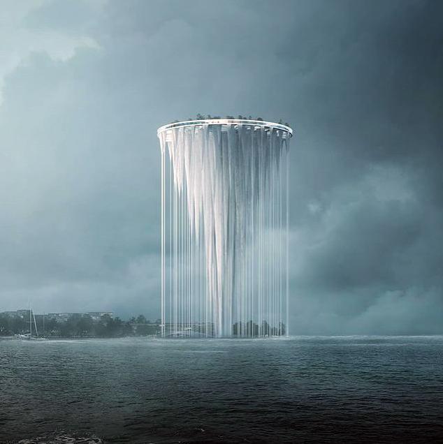 Подвесные элементы создадут иллюзию водопада. Фото Скриншот You-Tube-канала Architect Clips., Скриншот Youtube
