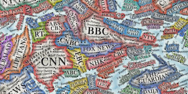 Это регион медиа. Самые большие страны – самые просматриваемые телеканалы, такие как BBC, CNN и RT.
