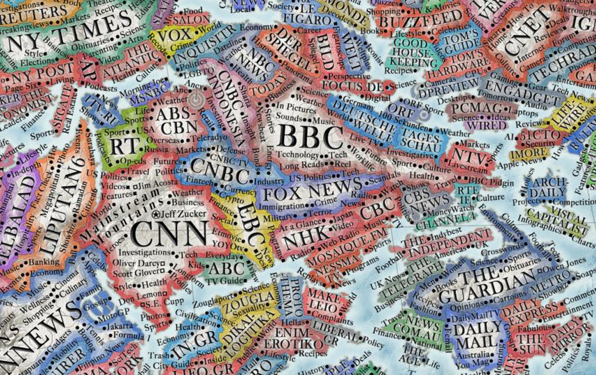 Это регион медиа. Самые большие страны – самые просматриваемые телеканалы, такие как BBC, CNN и RT. Фото Мартин Варгич