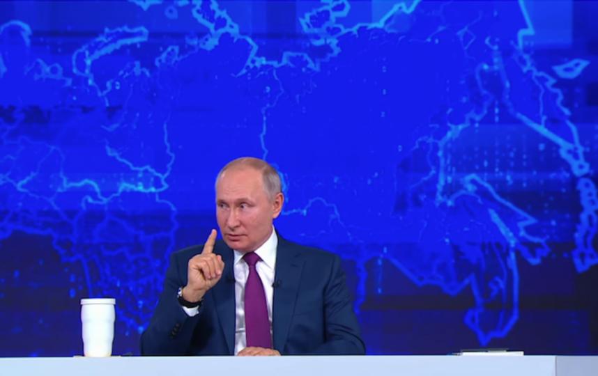 Владимир Путин на прямой линии. Фото Скриншот онлайн-трансляции