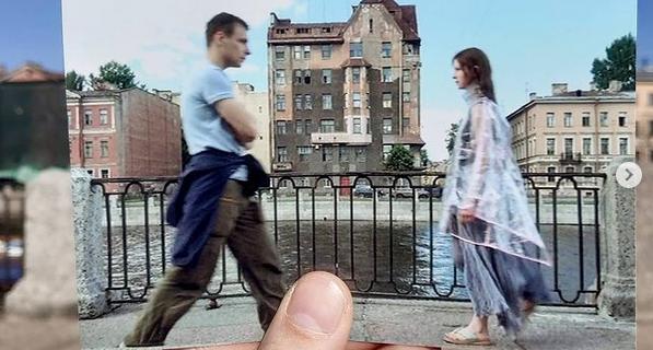 "Фильм ""Питер FM"". На фоне дома Капустина в Санкт-Петербурге."