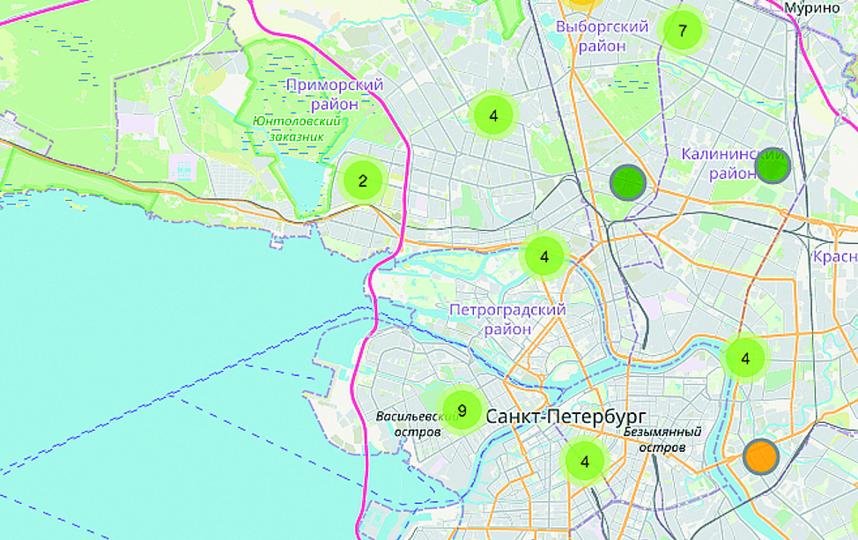 Интерактивная карта поможет петербуржцам найти свободный номерок на вакцинацию. Фото Скриншот карты spbmiac.ru.