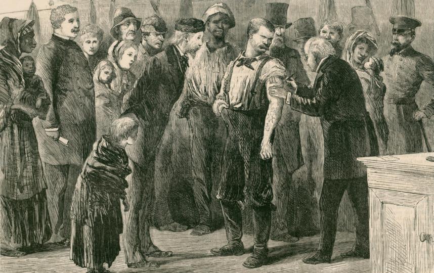 """Этот графический рисунок американского художника Сола Эйтинджа – младшего (1833–1905) показывает, как проходила вакцинация от оспы бедного населения в Америке в XIX веке. Фото предоставлено пресс-службой канала """"Наука"""""""